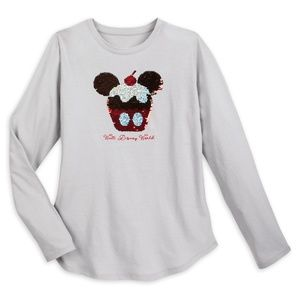 Snacks Mickey Icon Cupcake Two Sided Sequins Shirt